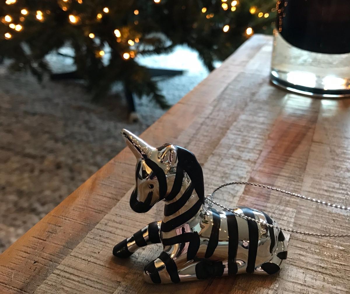 Kerstboom ornamentjes: Zebra unicorn uit Zuid-Afrika